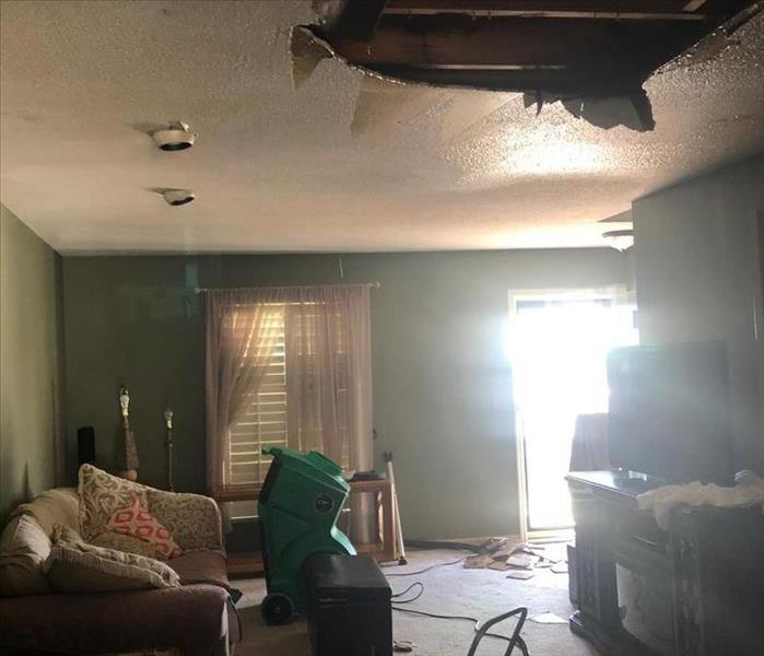 Ceiling collapse due to fire damage