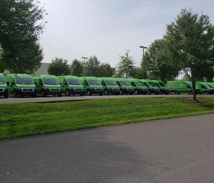 SERVPRO vans parked outside of the Corporate office
