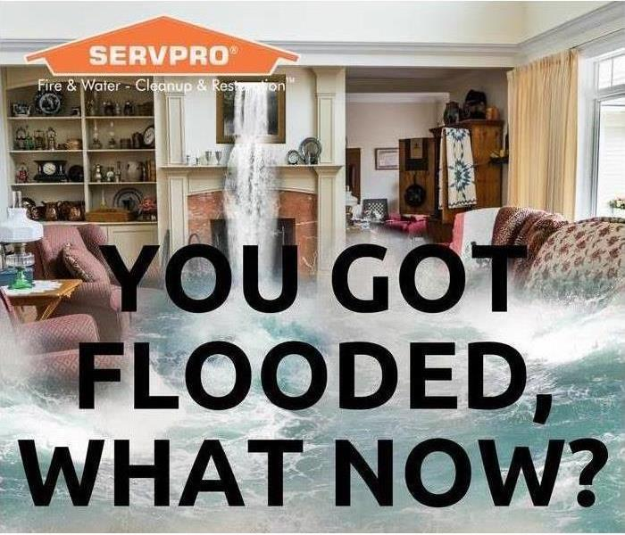Living room with water gushing in with You got flooded, now what? caption
